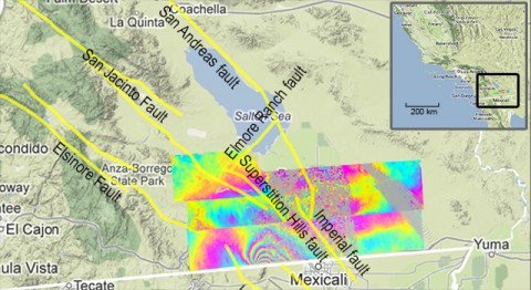 UAVSAR measurements north of the 2010 El Mayor-Cucapah earthquake, which scientists have learned was followed by quiet movement on faults in California. Inset map shows the region on the California-Mexico border. (NASA/JPL/USGS/California Geological Survey/Google)