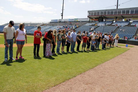 The Nashville Sounds hosted a Veteran and Surviving Military Game on Sunday, May 18. The Sounds honored Gold Star families before the game on the field. The Sounds host veteran appreciation games every Sunday. (U.S. Army Photo by Staff Sgt. Melisa Washington)