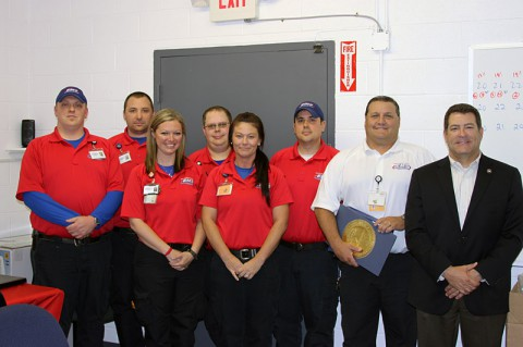 Montgomery County EMS recognized for Heroism. Pictured from Left to Right: Matt Sandifer, Caleb Hall, Jennifer Earp, Jessie Ferrell, Stephanie Read, Joe Gluff, Gary Perry and Senator Mark Green.