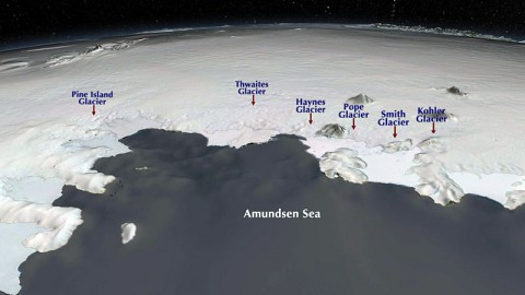 Although the Amundsen Sea region is only a fraction of the whole West Antarctic Ice Sheet, the region contains enough ice to raise global sea levels by 4 feet (1.2 meters). (NASA/GSFC/SVS)