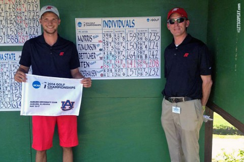 Austin Peay's Marco Iten wins NCAA Auburn Regional. Iten pictured with APSU Golf coach Kirk Kayden (APSU Sports Information)