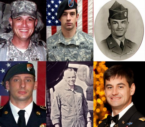 Top row: Warrant Officer Judson Mount, SSG Stephen New, SSG Lawrence Woods  Bottom row: SSG Daniel Lee, Maj. Howard Andre Jr., Warrant Officer Sean Mullen