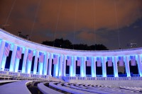 Equipment and lights are set up at the Memorial Amphitheater for the 150th anniversary of the establishment of Arlington National Cemetery in Arlington, Va., June 13, 2014. (Spc. Michael Mulderick/U.S. Army)