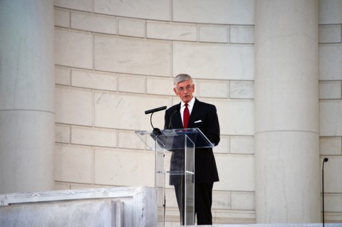 The Secretary of the Army John McHugh addresses the audience during the 150th anniversary of the establishment of Arlington National Cemetery in Arlington, Va., June 15, 2014. (Spc. Michael Mulderick/U.S. Army)