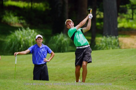 Tyler Guy and Hunter Richardson lead Bud Lite Two Man Scramble at Swan Lake Golf Course. (Michael Rios Clarksville Sports Network)