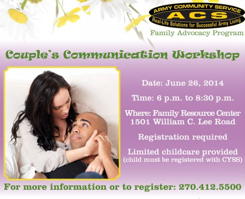 Army Community Service to hold Couple's Communication Workshop June 26th