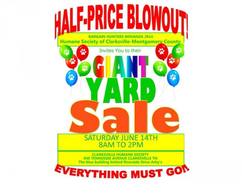 Humane Society of Clarksville-Montgomery County to hold Mega Yard Sale this Saturday, June 14th