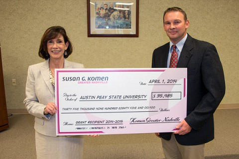 Dr. Patty Orr and Joey Smith, director of the county health department, recently received $35,985 to support local breast health.