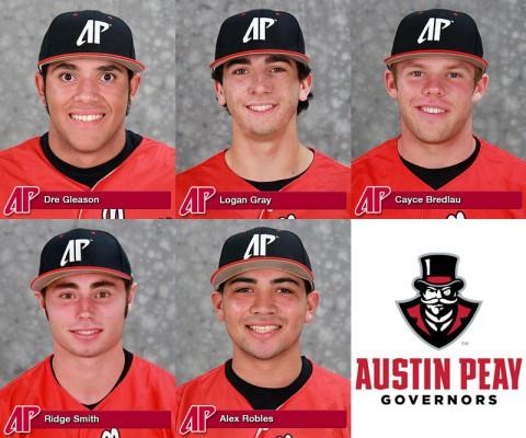 APSU's Dre Gleason, Logan Gray, Cayce Bredlau, Ridge Smith, and Alex Robles named to Louisville Slugger Freshman All-American Team.