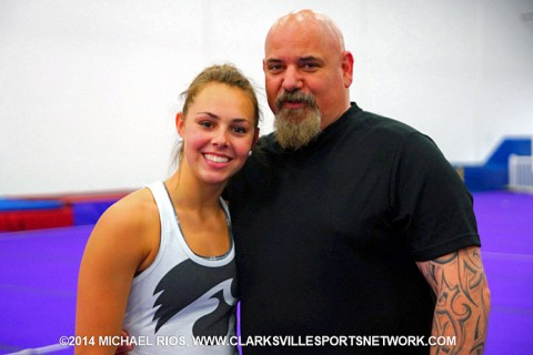 Ashleigh Edlin with Larry Corrigan of Clarksville Elite Gymnastics. (Michael Rios Clarksville Sports Network)
