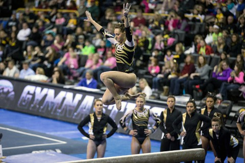 Ashleigh Edlin performing on balance beam for the University of Iowa. (Brian Ray/hawkeyesports.com)