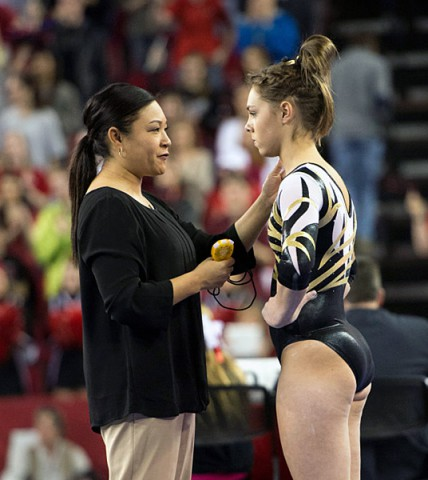 Ashleigh Edlin with Iowa coach Larissa Libby. (Brian Ray/hawkeyesports.com)