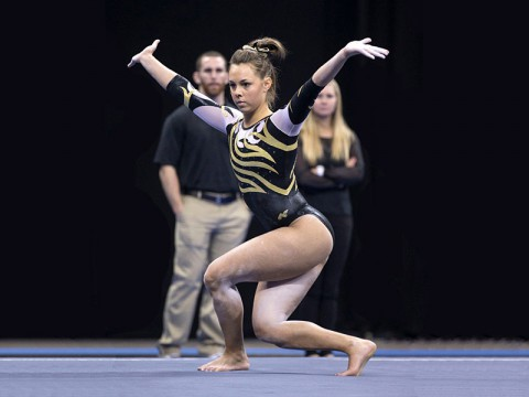 Ashleigh Edlin competes with the University of Iowa Women's Gymnastics team. (Brian Ray/hawkeyesports.com)