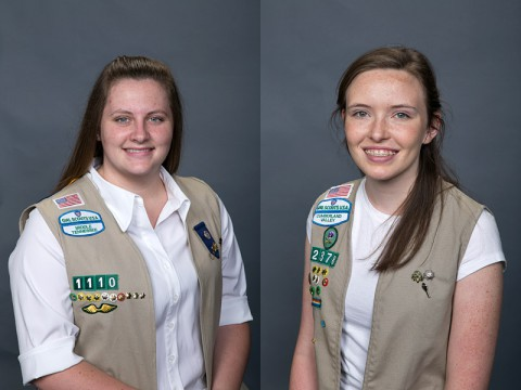 (L to R) Cassidy Smith and Anna Shackleford received the Girl Scouts Gold Award.