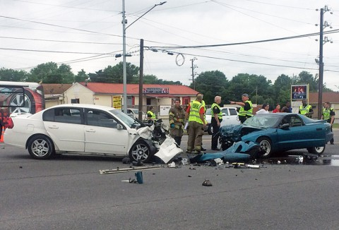 The Chevrolet Malibu collided head on with a Pontiac Firebird Monday on Fort Campbell Boulevard. (Clarksville Police Department)