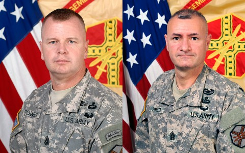 (L to R) Command Sergeant Major Stephen Bower and Command Sergeant Major Gabriel Espinosa.