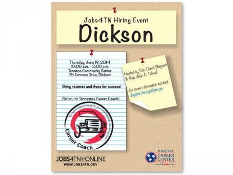 Jobs4TN Job Fair in Dickson Tennessee this Thursday.