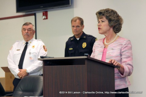 Clarksville Mayor Kim McMillan gives her remarks at the announcement of Clarksville Tennessee's new public safety radio system
