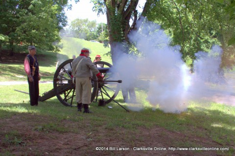 Porter's Battery fires one of their canons at the March to the Past event