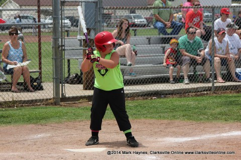 Zoey Harris connects for two home runs to power Diamand Divas past Lil Diamonds Saturday at Montgomery Central Little League's Peewee Field.