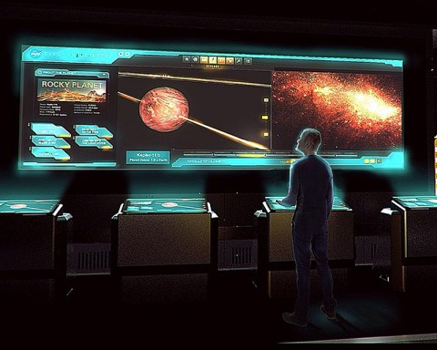 Artist's design concept for an interactive exhibit featuring NASA's Eyes on Exoplanets as part of Marvel's Avengers S.T.A.T.I.O.N. exhibit, opened in May 2014. (Victory Hill Entertainment Group)