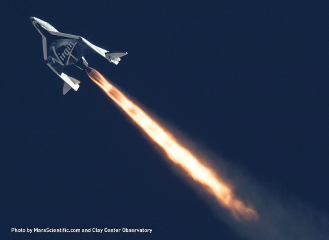 Telescopic image of Virgin Galactic's SpaceShipTwo during a supersonic test flight in 2013. (Mars Scientific/Clay Center Observatory)