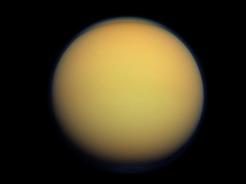 New research on the nitrogen in Titan's atmosphere indicates that the moon's raw materials might have been locked up in ices that condensed before Saturn began its formation. (NASA/JPL-Caltech/Space Science Institute)