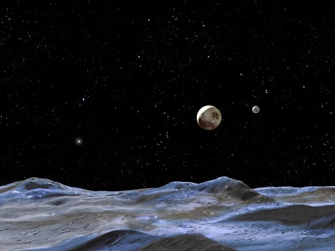 This artist concept shows Pluto and some of its moons, as viewed from the surface of one of the moons. Pluto is the large disk at center. Charon is the smaller disk to the right. (NASA, ESA and G. Bacon (STScI))