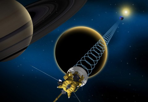 Cassini will attempt to bounce signals off of Saturn's moon Titan once more during a flyby on June 18, 2014, revealing important details about the moon's surface. (NASA/JPL-Caltech)
