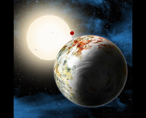 An artist's conception shows the Kepler-10 system, home to two rocky planets. In the foreground is Kepler-10c, a planet that weighs 17 times as much as Earth and is more than twice as large in size. Planet formation theorists are challenged to explain how such a massive world could have formed. (Harvard-Smithsonian Center for Astrophysics/David Aguilar)