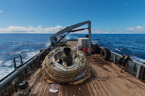 "The first ""flown"" test vehicle of Low-Density Supersonic Decelerator project relaxes aboard the recovery vessel Kahana. During the June 28, 2014, engineering flight, the saucer-shaped test vehicle climbed to over 180,000 feet (about 55,000 meters) in altitude and went as fast as four times the speed of sound. (NASA/JPL-Caltech)"