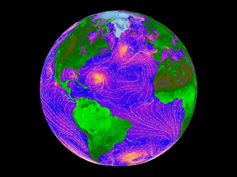 Using data from NASA's QuikScat, weather forecasters were able to predict hazardous weather events over oceans 6 to 12 hours earlier than before these data were available. Orange areas show where winds are blowing the hardest and blue shows relatively light winds. (NASA)