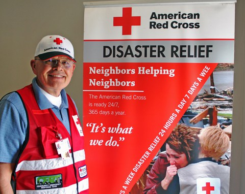 Ron Lanfear with the Two Rivers Chapter of the American Red Cross