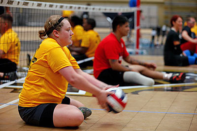Specialist Amanda Lyle practices sitting volleyball during the 2014 U.S. Army Warrior Trials at the U.S. Military Academy, West Point, N.Y. Lyle is assigned to the Fort Campbell Warrior Transition Unit and is from Paducah, KY. (Sgt. Arthur Ruepong - U.S. Army)