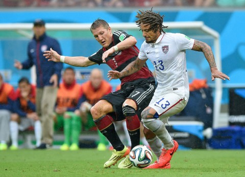 Germany midfielder Bastian Schweinsteiger (7) looks to control the ball against United States defender Fabian Johnson (23) and midfielder Jermaine Jones (13) during the first half of the match during the 2014 World Cup at Arena Pernambuco. (Tim Groothuis/Witters Sport via USA TODAY Sports)