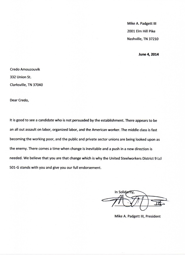 Credo Amouzouvik Endorsed By The United Steelworkers Of America In