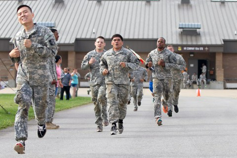 Members of the 101st Special Troops Battalion, 101st Sustainment Brigade, 101st Airborne Division (Air Assault), race around the unit's area during the 101st STB's inaugural Warrior Challenge July 2, at Fort Campbell. (U.S. Army photo by Sgt. Leejay Lockhart)