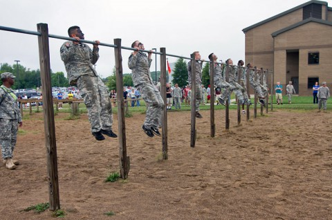 Soldiers with the 58th Signal Company, 101st Special Troops Battalion, 101st Airborne Division (Air Assault) perform pull-ups in cadence with each other during the battalion's inaugural Warrior Challenge July 2, at Fort Campbell. (U.S. Army photo by Sgt. Leejay Lockhart)