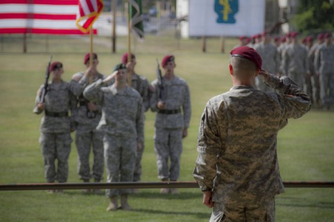 Lt. Col. Anthony J. Boniface Jr., incoming commander of the Group Support Battalion, 5th Special Forces Group (Airborne), salutes the battalion formation at the close of the GSB change of command ceremony held July 25, 2014, here at Gabriel field. (Sgt. Justin A. Moeller/U.S. Army)