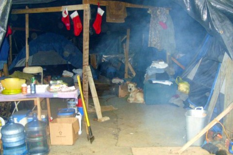 """This is a shot of a camp that """"housed"""" several people in Nashville's Tent City that my wife and I visited one Christmas. Every month or two, someone's camp was burnt to the ground for one reason or another."""