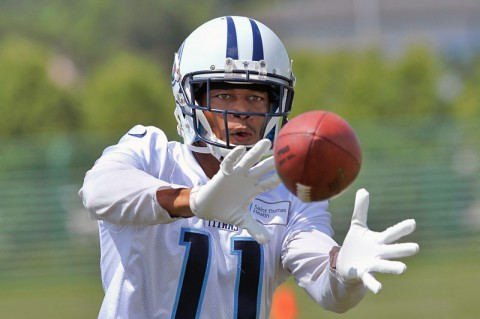 Tennessee Titans wide receiver Isiah Williams (11) during mini camp at Saint Thomas Sports Park. (Jim Brown - USA TODAY Sports)