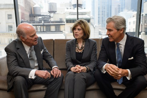 The three co-chairs of the American Heart Association CEO Roundtable talk during a meeting of the Roundtable in July: From left: Henry Kravis, Co-CEO and Co-Chair of KKR & Co. L.P.; American Heart Association CEO Nancy Brown; and Terry Lundgren, Chairman and CEO of Macy's, Inc. (American Heart Association)