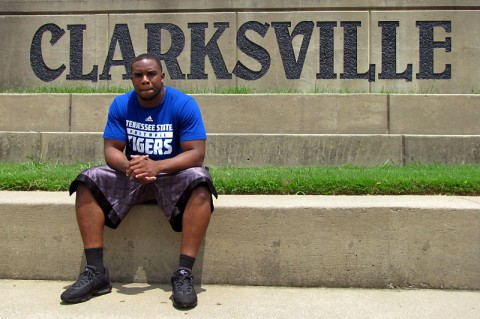 Anthony Bass hanging out in Clarksville this summer preparing for the upcoming TSU football season.