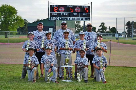 The Clarksville Commandos 10U baseball team wins Championship. Pictured are Head Coach Josh Moon, Head Assistant Coach Tim Conley, Assistant Coach Reggie Sampson, Mason McKinnon, Kaleb Dacosta, Junior Palmer, Jackson Cook, Collin Rittenberry, Nathan Conley, Dustin Moon, Jabez Sampson, Jayden McClain.
