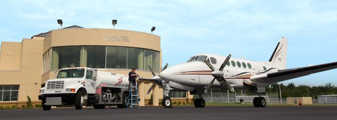 Assistant Airport Manager John Atnip Refuels an Airplane at the Clarksville Regional Airport
