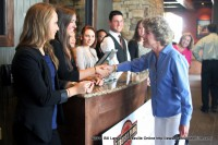 Clarksville Mayor Kim McMillan greets the greeters at the Liberty Park Grill on Saturday