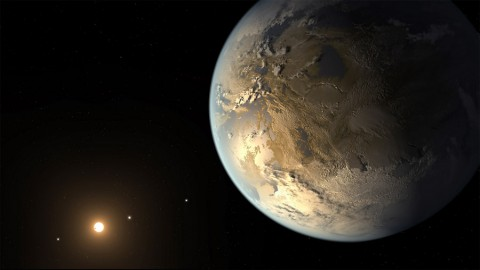 The artist's concept depicts Kepler-186f , the first validated Earth-size planet to orbit a distant star in the habitable zone-a range of distance from a star where liquid water might pool on the planet's surface. (NASA)