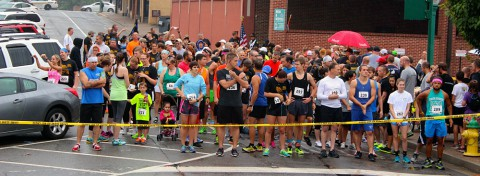 Runners gather at the starting line for the Bubba Johnson Memorial 5K Road Race.