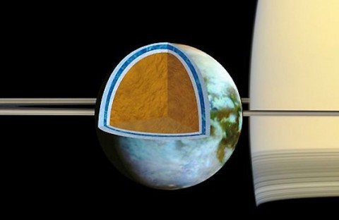 Researchers found that Titan's ice shell, which overlies a very salty ocean, varies in thickness around the moon, suggesting the crust is in the process of becoming rigid. (NASA/JPL/SSI/Univ. of Arizona/G. Mitri/University of Nantes)