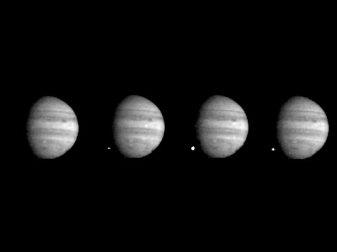NASA's Galileo spacecraft captured these four views of Jupiter as the last of comet Shoemaker-Levy 9's large fragments struck the planet. (NASA/JPL-Caltech)